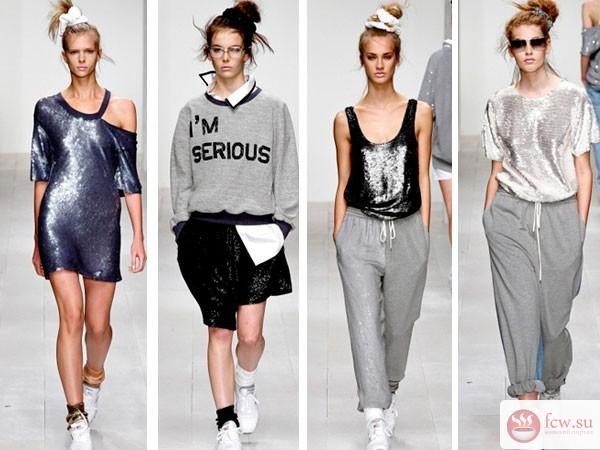 ac067afd1384cbe Спортивная тематика в прочтении Prada, Gucci, Marni открыла в себе все  большую женственность. В моде гетры под платья, шорты, козырьки, толстовки.